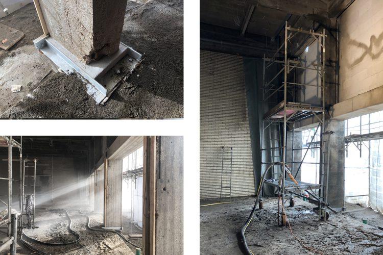 Betoninstandsetzungsmaßnahmen der Stahlbetonstützen